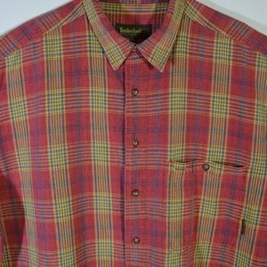 Timberland Red Plaid Short Sleeve Button Front XL